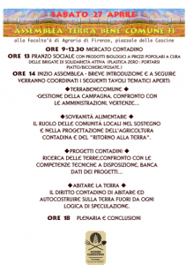 sabato 27 Aprile, assemblea terra bene comune Firenze facoltà d'agraria